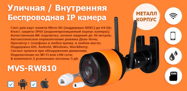 Новинка IP камера MVS-RW810 с Wi-Fi